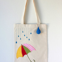 Embroidered Umbrella and Raindrop Cotton Canvas Tote Bag with Felt Raindrop Keychain- FREE SHIPPING UNTIL 12/18
