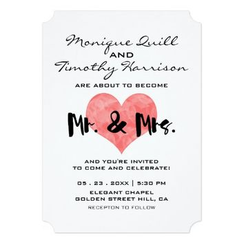 Mr. and Mrs. Faux Pink Hand Stamped Heart Wedding 5x7 Paper Invitation Card