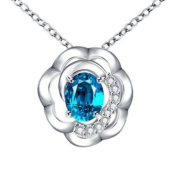 Blue Topaz Clover Shaped White Gold Necklace