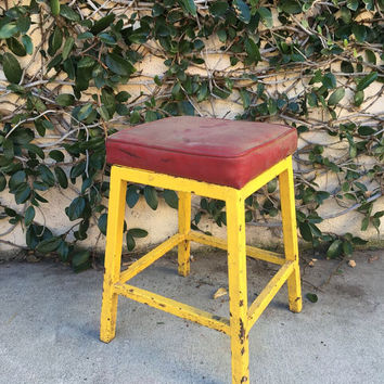 Vintage Metal Industrial Stool Red and Yellow Stool Vintage Stool Metal Yellow Stool Yellow Metal Stool Industrial Stools
