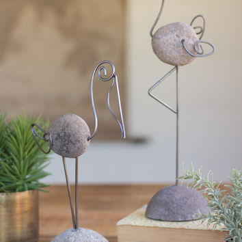 set of two river stone and wire flamingo and pelican