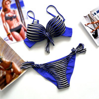 Bandage Striped Swimwear Bikini Set
