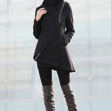 Asymmetrical coat, wool jacket, wool coat, high collar coat, woman jacket, winter wool coat, black jackets, winter coat, coats, jacket  C227