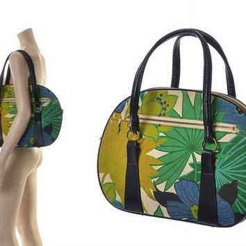 Vintage 60s 70s Mod Floral Overnight Bag 1960s 1970s Flower Power Canvas Carry On Hippie Luggage Boho Tote Large Shoulder MCM Purse