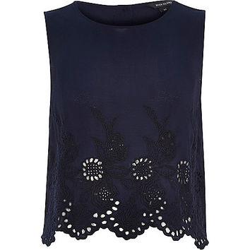 River Island Womens Navy crepe embroidered hem tank top