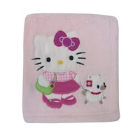 Bedtime Originals Hello Kitty and Puppy Fleece Blanket with Applique - Pink (Discontinued by Manufacturer)
