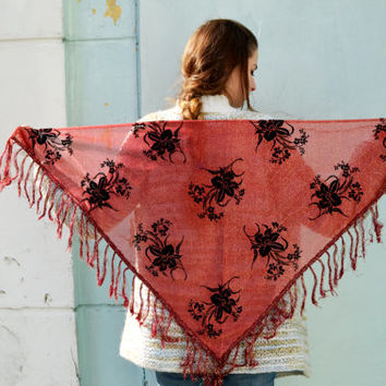 Metallic Lace Shawl, Long Fringe Scarf, floral  scarf, summer shawl, red shawl, shawl with roses
