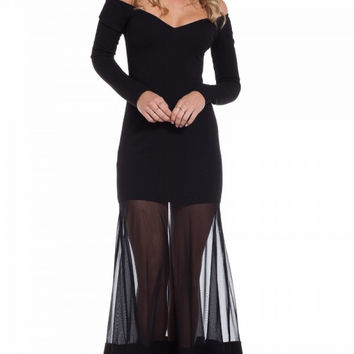 Black Off Shoulder Long Sleeve Overlay Mesh Maxi Dress