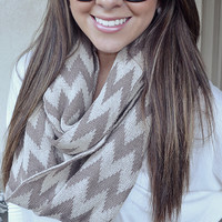Chevron Frenzy Scarf: Tan/Ivory