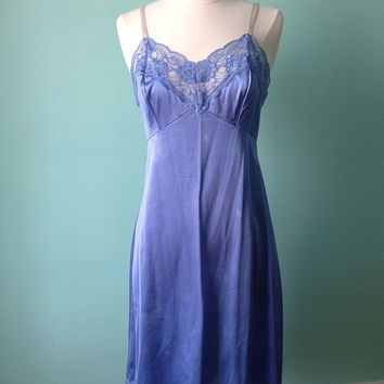 Full Slip / Vintage Mad Men Style / Blue Dress / 34 / Upcycled