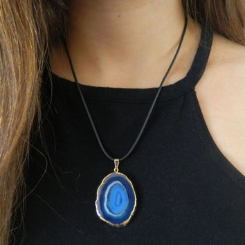 Blue Agate Stone Necklace with adjustable black chord