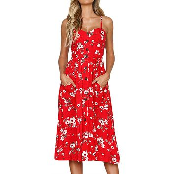 Flowerlet Print Red Button Down Sundress