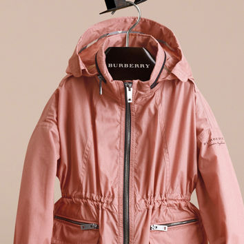 Packaway Hood Showerproof Jacket with Check Detail Rose Pink | Burberry