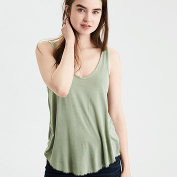 AE Lettuce Hem Swing Tank, Washed Olive