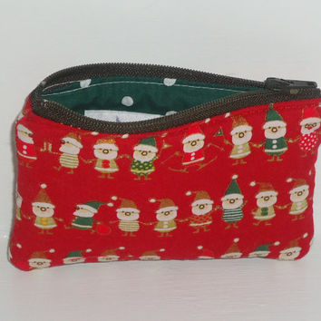 Clearance Sale -- 40% OFF Small Kawaii Zippered Pouch -- Santa's Elves on Red (Camera / IPod / Cell Phone Case)