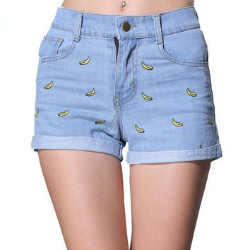 2017 Summer Embroidery Shorts Women Summer Jean Shorts Mid Waist Zipper Fly Bleach Wash Banana Embroidered Denim Shorts