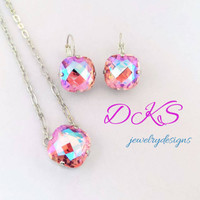 Rose Shimmer, Swarovski Necklace, 16mm, Classical Square, Sparkle, Pendant,  Antique Silver, DKSJewelrydesigns, FREE SHIPPING