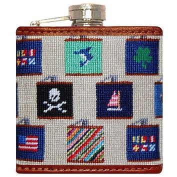 Flasks Needlepoint Flask in Khaki by Smathers & Branson