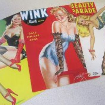 Set of 3 Retro Pin Up Prints the Blondes by scarlettess on Etsy