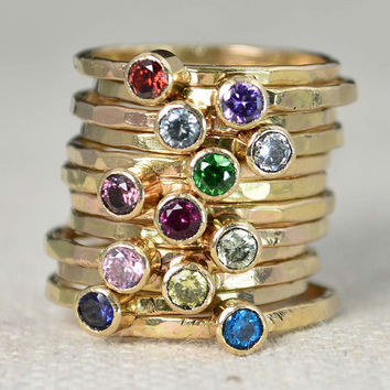 Classic 14k Gold Filled Birthstone Rings