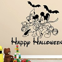 Wall Decal Happy Halloween Holiday Vinyl Sticker Mickey Mouse Minnie Mouse Decals Nursery Wall Decor Kids Room Childrens Bedroom NS915
