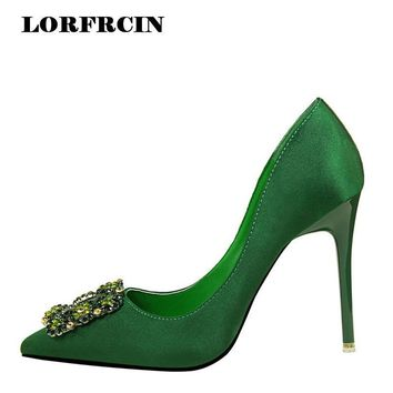 LORFRCIN 2017 Fashion Rhinestone Women Shoes High Heels Shoes Silk Satin Women Pumps B