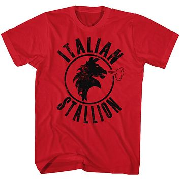 Rocky T-Shirt Distressed Black Italian Stallion Red Tee