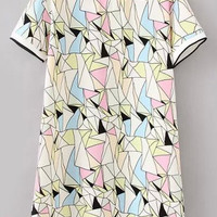 Multicolor Short Sleeve Geometric Print Dress
