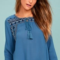 Harmony Hues Blue Embroidered Long Sleeve Top