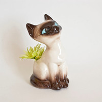 Vintage Siamese Cat Figurine Planter, Flower Pot, Succulents Cactus
