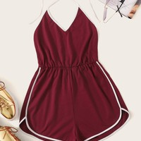 Backless Contrast Binding Halter Romper