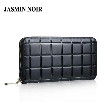 Cow Split Leather Women Wallet European and American Style Plaid Lady Purse High Quality Female Clutch Quilted Designed Hand Bag