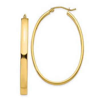 4mm, 14k Yellow Gold Large Oval Hoop Earrings, 45mm (1 3/4 Inch)