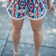 Watercolor Abstract Print Shorts in Blue