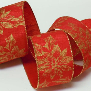 25 Yd ROLL wired Christmas ribbon decorations Sparkle Gold Poinsettias Red Christmas Ribbon wreaths make Christmas Tree Ribbon 2.5""