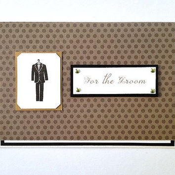 For the Groom Wedding Day Handmade Brown, Black Polka Dot Marriage Greeting Card for Men (Blank Inside)