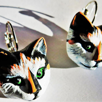 Tortoise shell tuxedo cat , kitten, pussy cat head handmade earrings for pierced ears nickel free