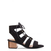 Hailey Black Suede Lace Up Gladiator Block Heels : Simmi Shoes - Love Your Shoes!
