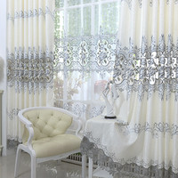 2016 new Europe Embroidered tulle Window Curtains For living Room/ Bedroom Blackout Curtains Window Treatment /drapes Home Decor