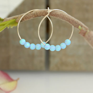 Small Hoop Earrings, opal Hoop Earrings, blue Opal beads, Sterling silver hoop earrings, Gypsy Hoops, Tribal earrings, simple opal jewelry
