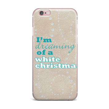 "Sylvia Cook ""White Christmas"" Brown Teal iPhone Case"