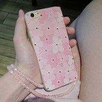 Pink Floral Case High Quality Cover for iPhone 7 7Plus & iPhone se 5s 6 6 Plus +Gift Box
