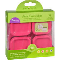 Green Sprouts Storage Cubes  Glass  Fresh Baby Food  Fucshia  2 Oz  4 Pack
