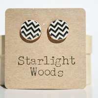 Chevron studs earrings black and white chevron geometric jewelry Chevron jewelry eco fashion eco-friendly starlight woods cyber monday etsy
