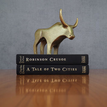 Mid Century Modern Brass Plated Steer or Bull Sculpture / Texas Longhorn Gift