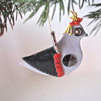 Ceramic Queen of Hearts Christmas tree ornament - Modern Art Partridge in a Pear Tree