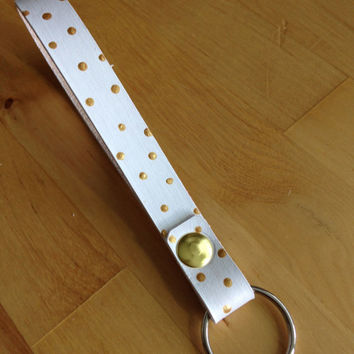 Leather Key Fob Key Ring Keychain White with Gold Polka Dots Wristlet