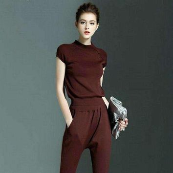 ONETOW 2016 New Knit short-sleeve Sweater pants Suits women fashion casual Crop Top and pants set slim knit T-shirt 2 pieces Set Women