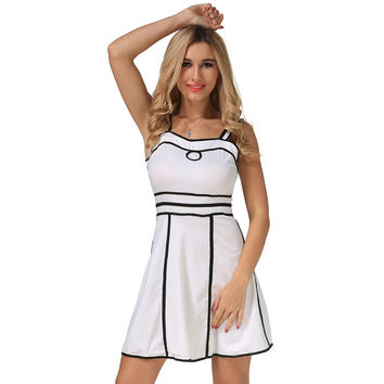 2017 Sleeveless Sexy Slim Mini Dress Party Night Club Dresses Sheath Women summer Dress Solid White