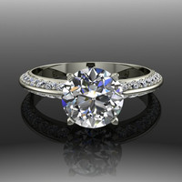 Forever Brilliant Moissanite and Diamond Engagement Ring 2 CTW